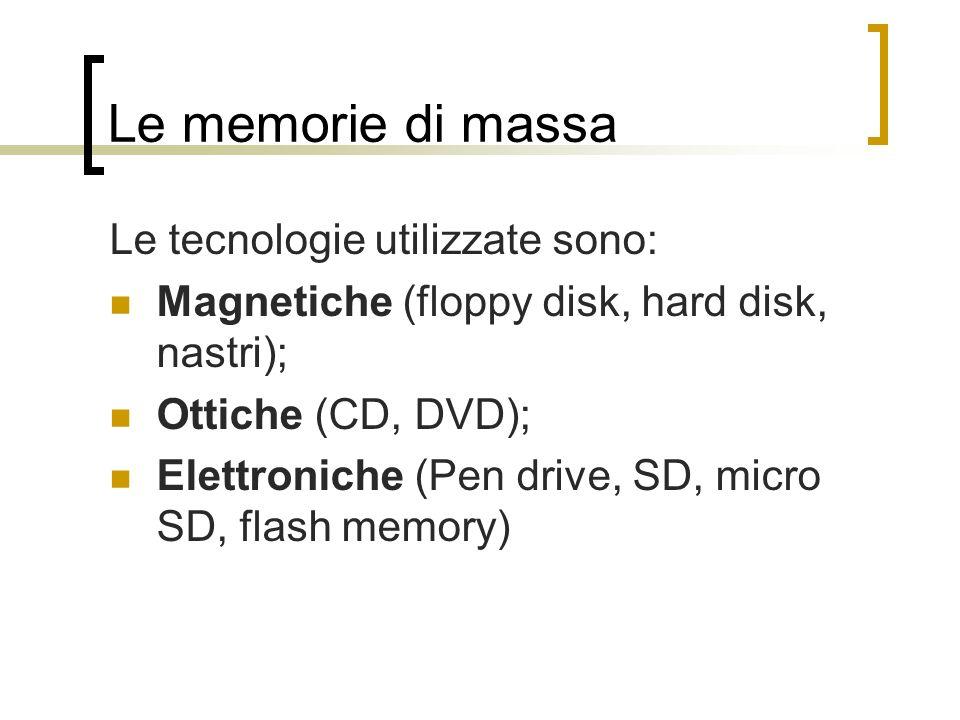 Le memorie di massa Le tecnologie utilizzate sono: