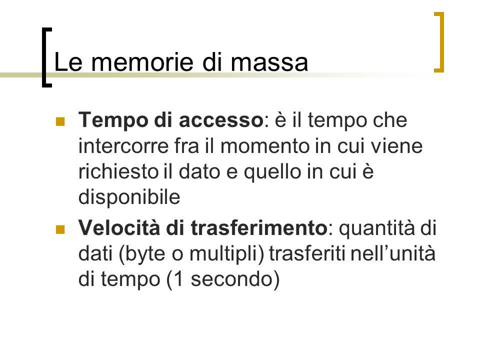 Le memorie di massa Tempo di accesso: è il tempo che intercorre fra il momento in cui viene richiesto il dato e quello in cui è disponibile.