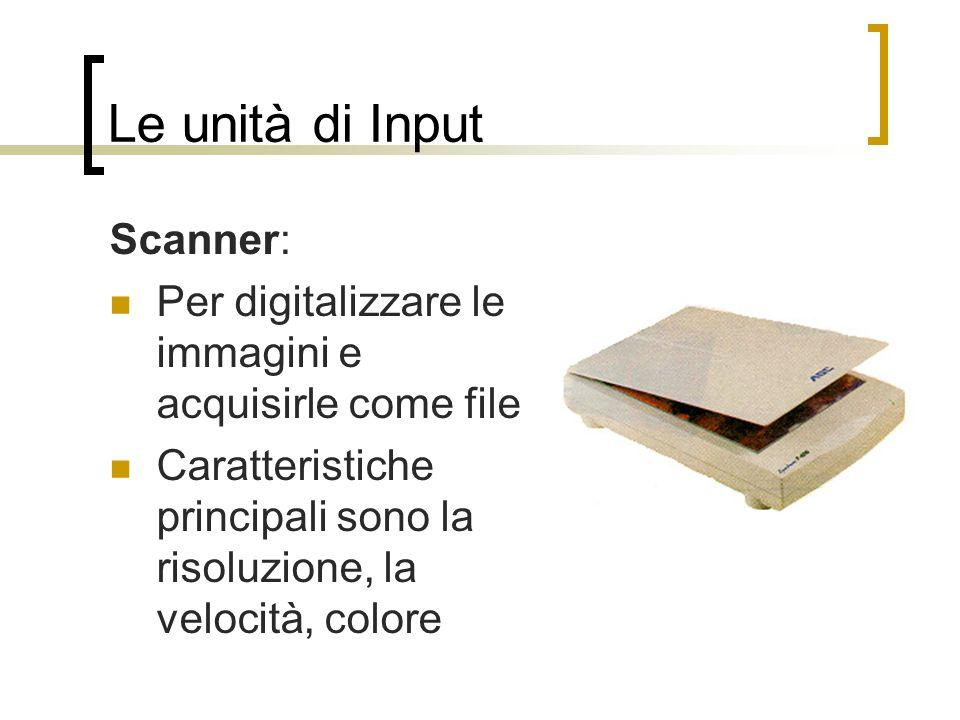 Le unità di Input Scanner: