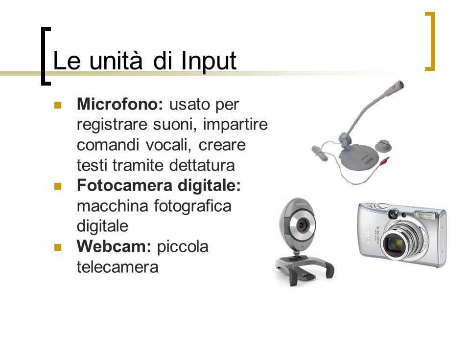 Le unità di Input Microfono: usato per registrare suoni, impartire comandi vocali, creare testi tramite dettatura.