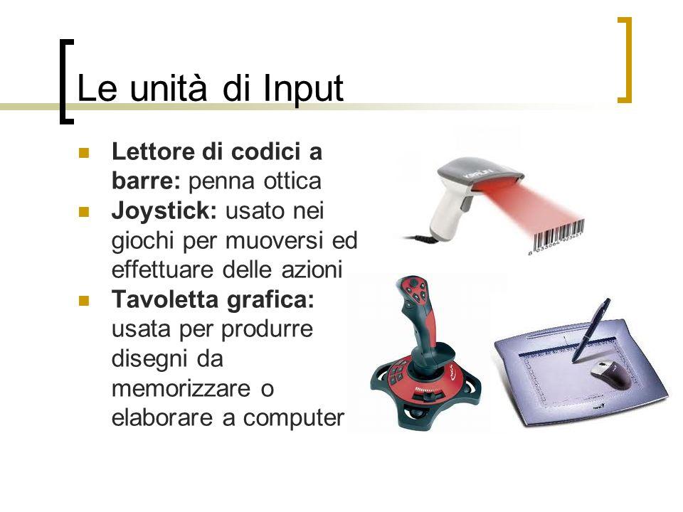 Le unità di Input Lettore di codici a barre: penna ottica