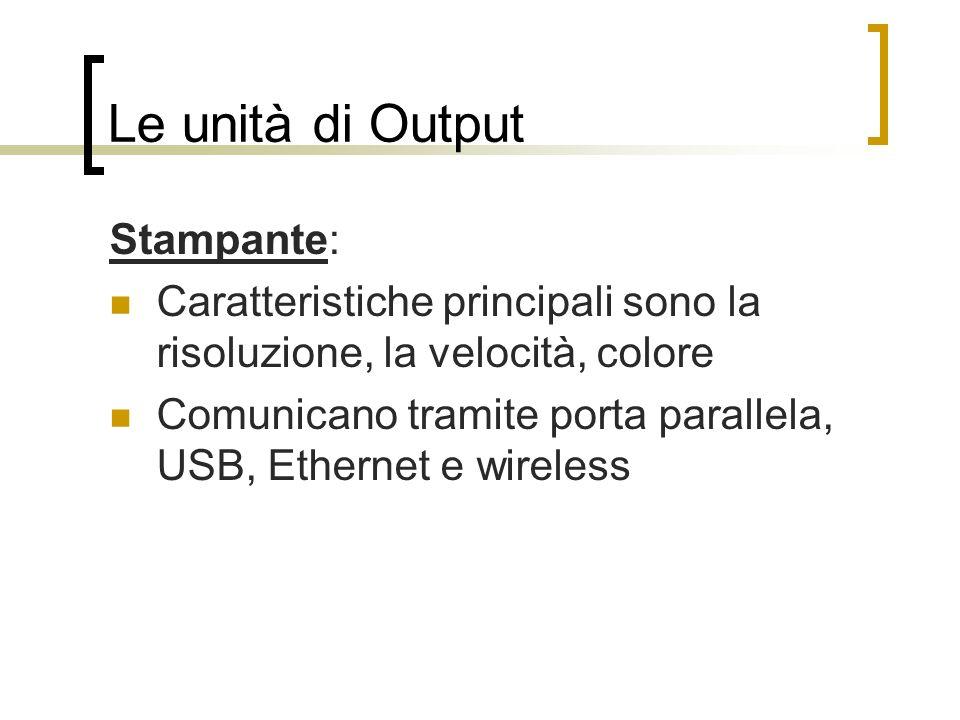 Le unità di Output Stampante: