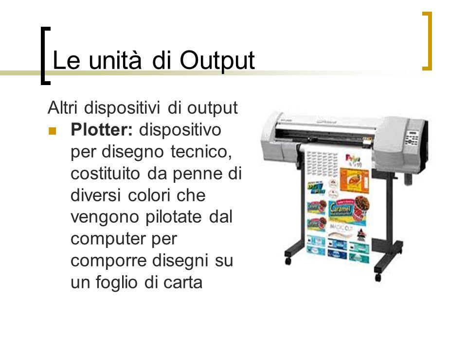 Le unità di Output Altri dispositivi di output