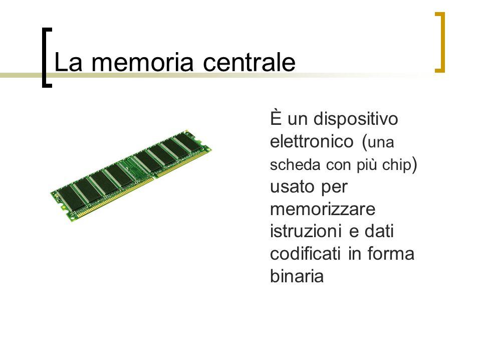 La memoria centrale È un dispositivo elettronico (una scheda con più chip) usato per memorizzare istruzioni e dati codificati in forma binaria.