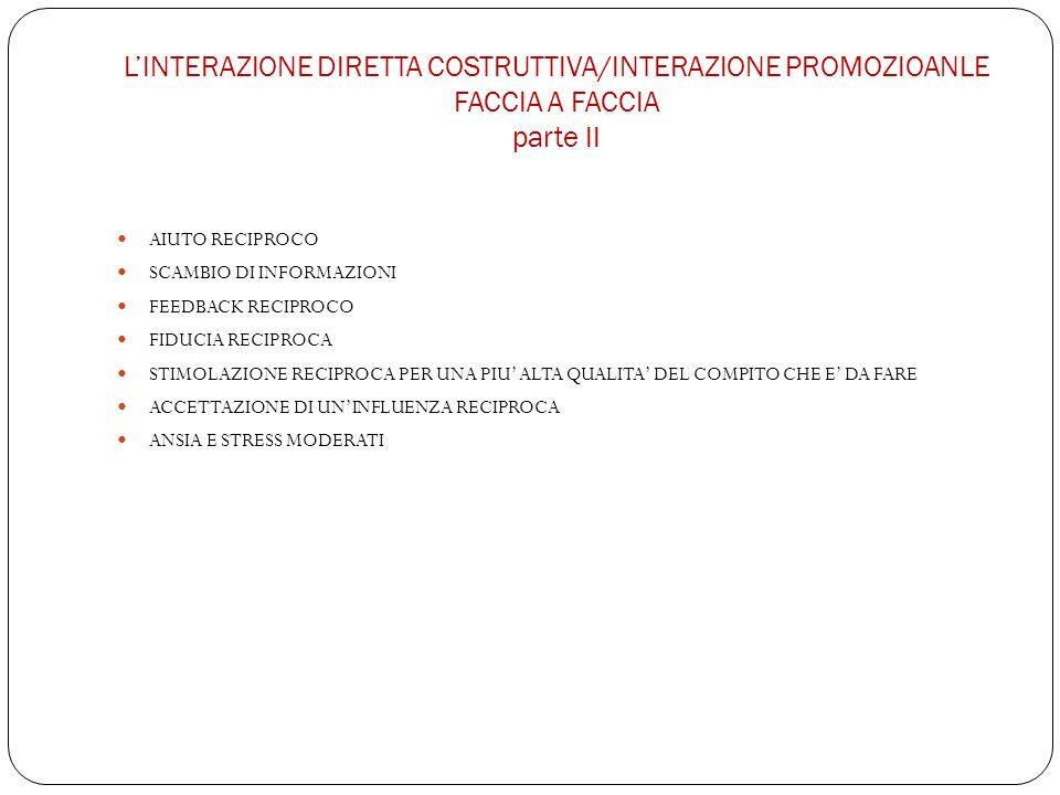L'INTERAZIONE DIRETTA COSTRUTTIVA/INTERAZIONE PROMOZIOANLE FACCIA A FACCIA parte II