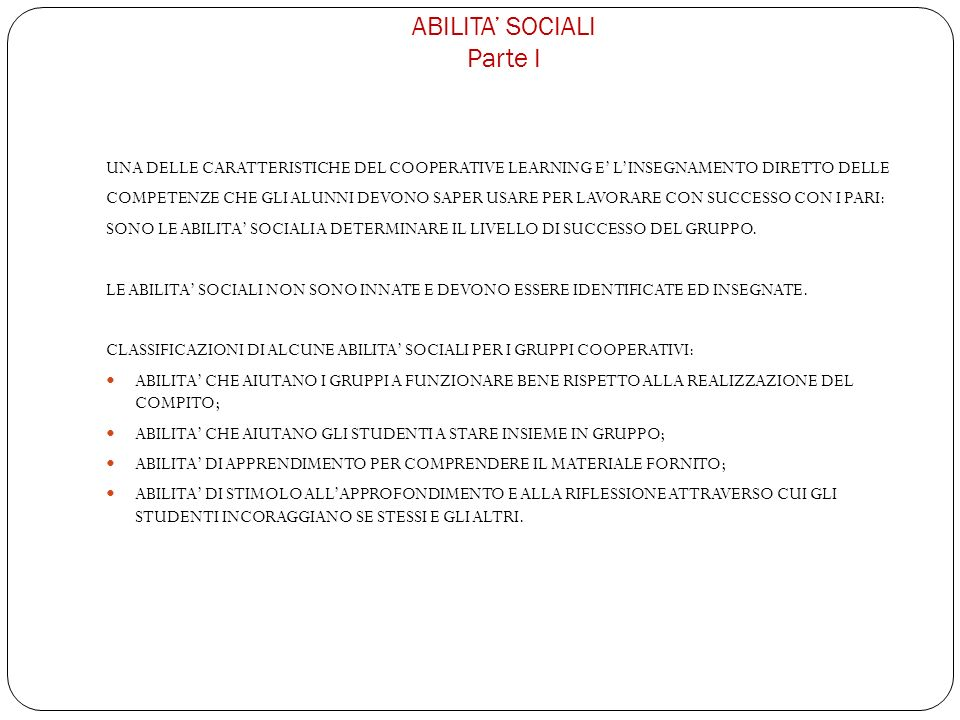 ABILITA' SOCIALI Parte I