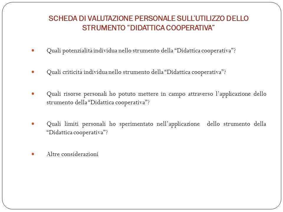 SCHEDA DI VALUTAZIONE PERSONALE SULL'UTILIZZO DELLO STRUMENTO DIDATTICA COOPERATIVA