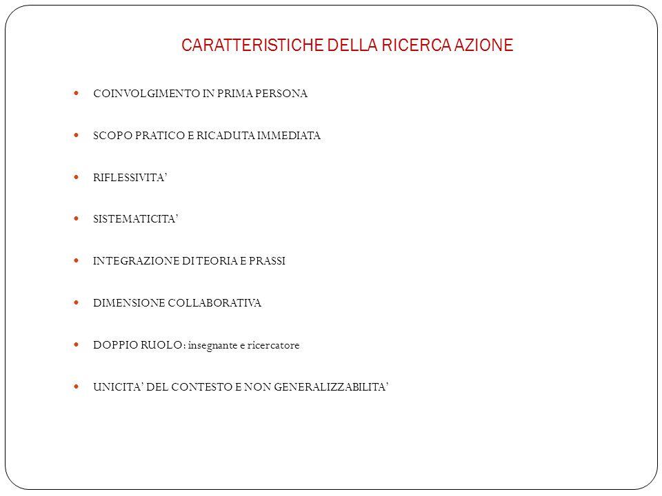 CARATTERISTICHE DELLA RICERCA AZIONE