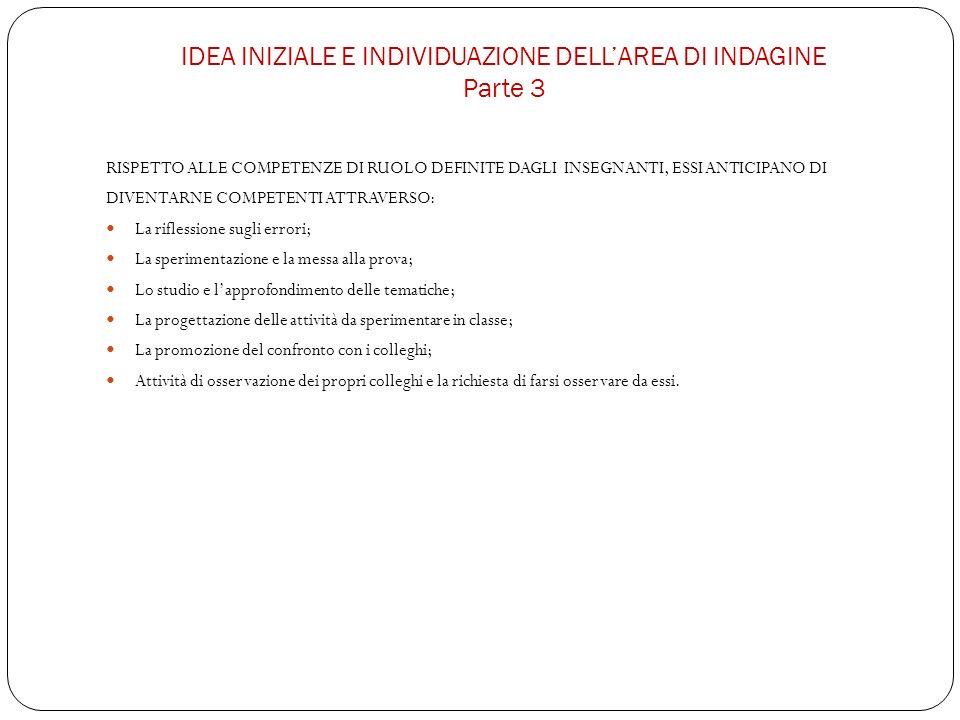 IDEA INIZIALE E INDIVIDUAZIONE DELL'AREA DI INDAGINE Parte 3