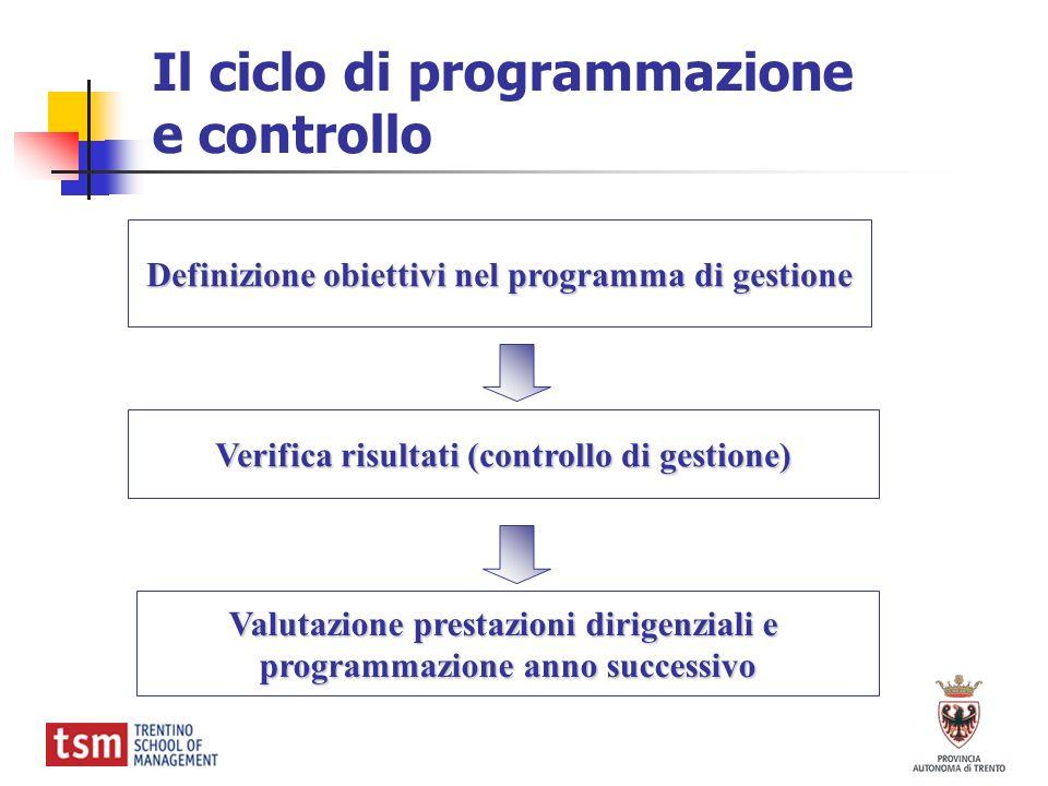 Il ciclo di programmazione e controllo