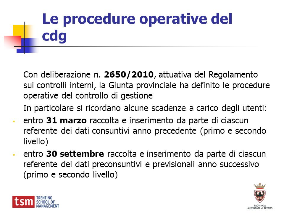 Le procedure operative del cdg