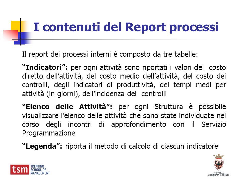 I contenuti del Report processi
