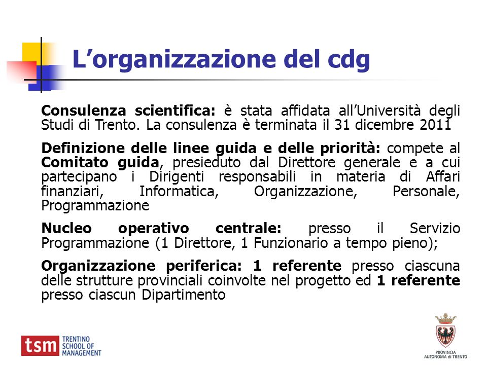 L'organizzazione del cdg