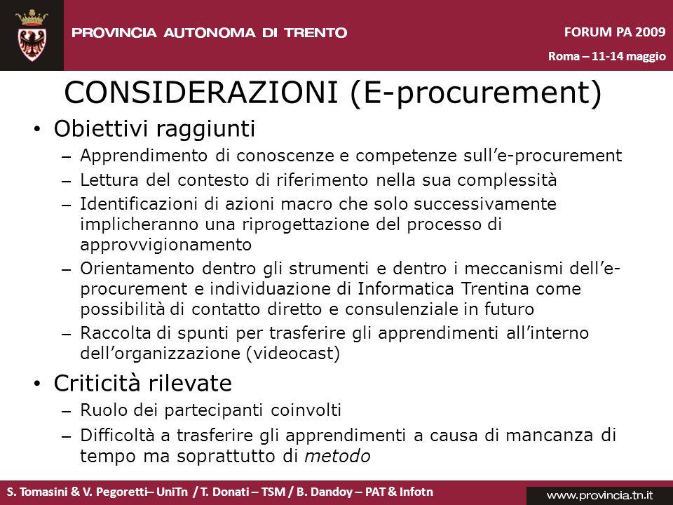 CONSIDERAZIONI (E-procurement)