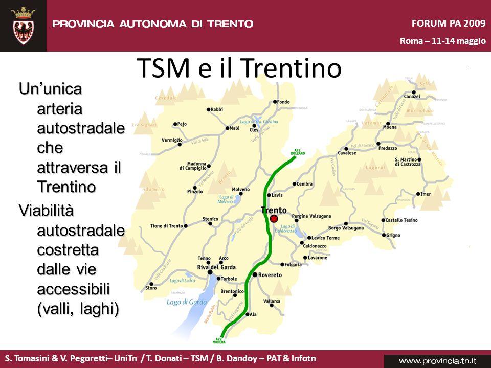 TSM e il Trentino Un'unica arteria autostradale che attraversa il Trentino. Viabilità autostradale costretta dalle vie accessibili (valli, laghi)