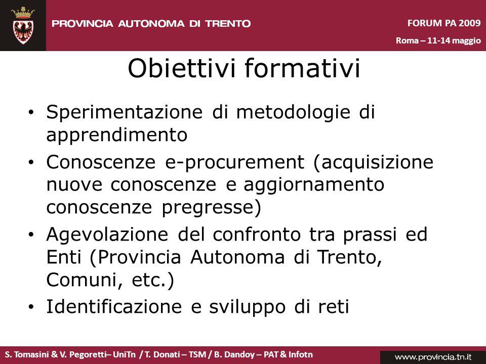 Obiettivi formativi Sperimentazione di metodologie di apprendimento