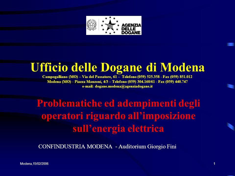 Ufficio delle Dogane di Modena Campogalliano (MO) – Via del Passatore, 61 – Telefono (059) 525.358 - Fax (059) 851.012 Modena (MO) - Piazza Manzoni, 4/3 – Telefono (059) 304.160/61 - Fax (059) 440.747 e-mail: dogane.modena@agenziadogane.it