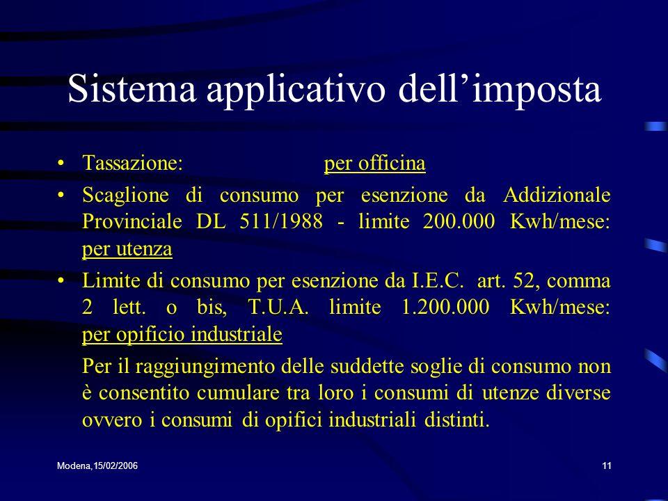 Sistema applicativo dell'imposta