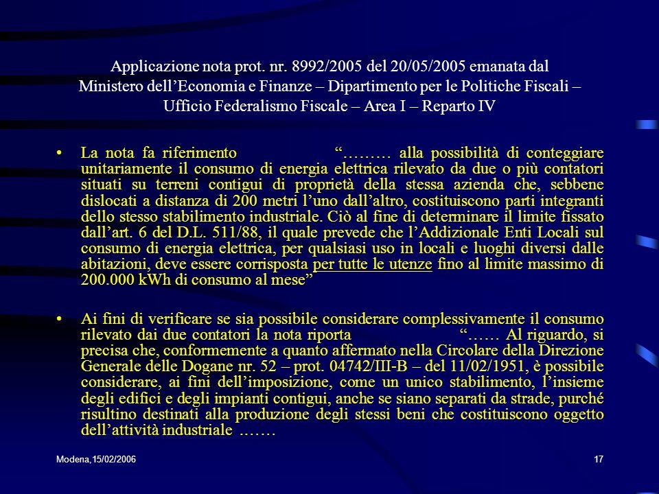 Applicazione nota prot. nr