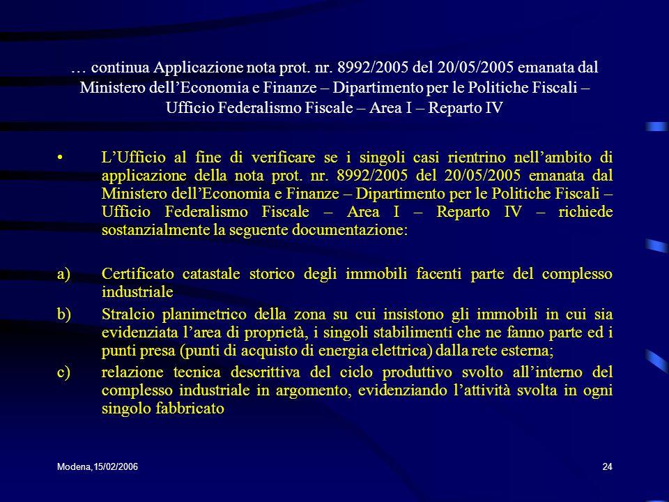 … continua Applicazione nota prot. nr