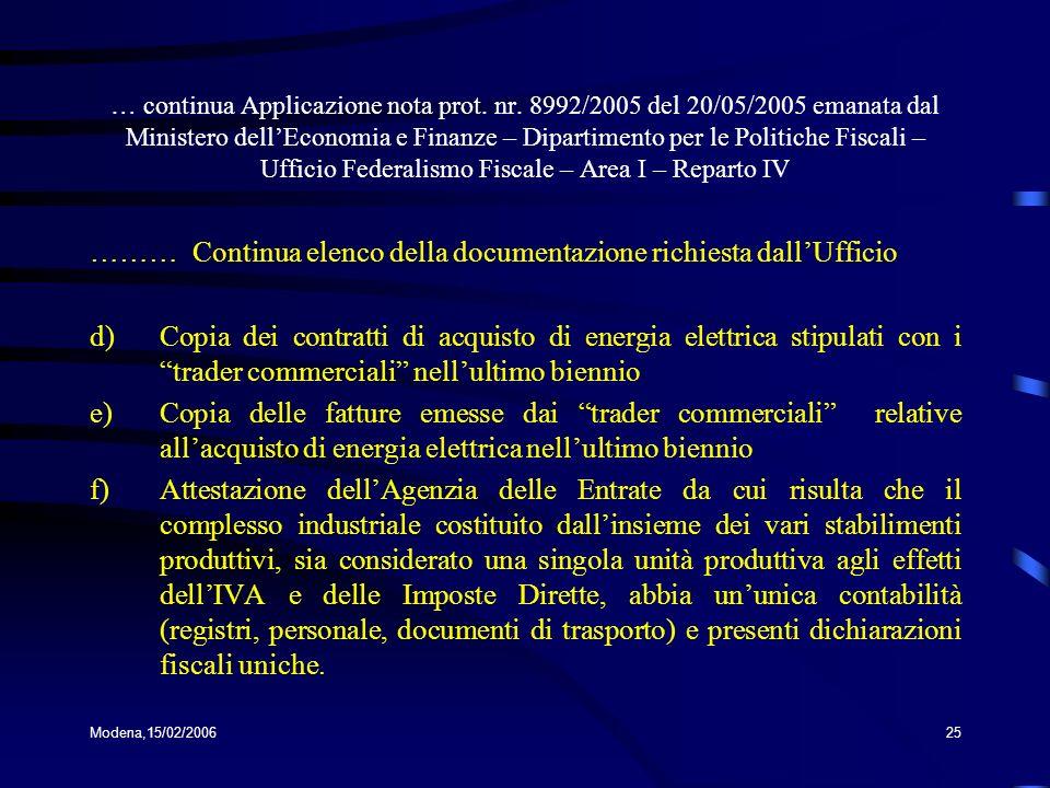……… Continua elenco della documentazione richiesta dall'Ufficio