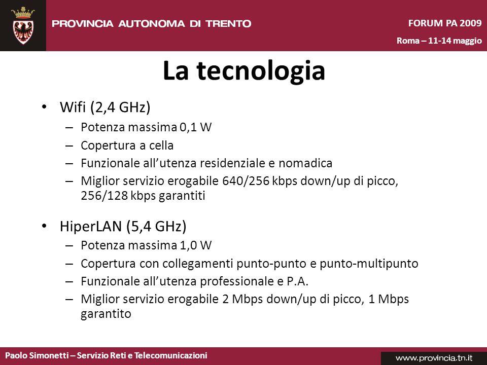 La tecnologia Wifi (2,4 GHz) HiperLAN (5,4 GHz) Potenza massima 0,1 W