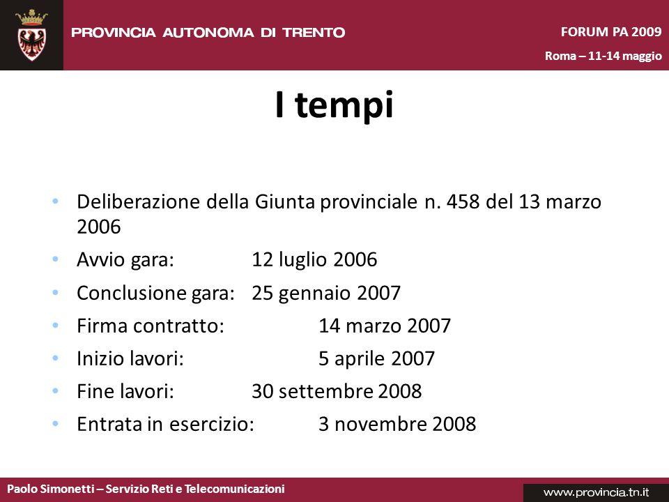 I tempi Deliberazione della Giunta provinciale n. 458 del 13 marzo 2006. Avvio gara: 12 luglio 2006.