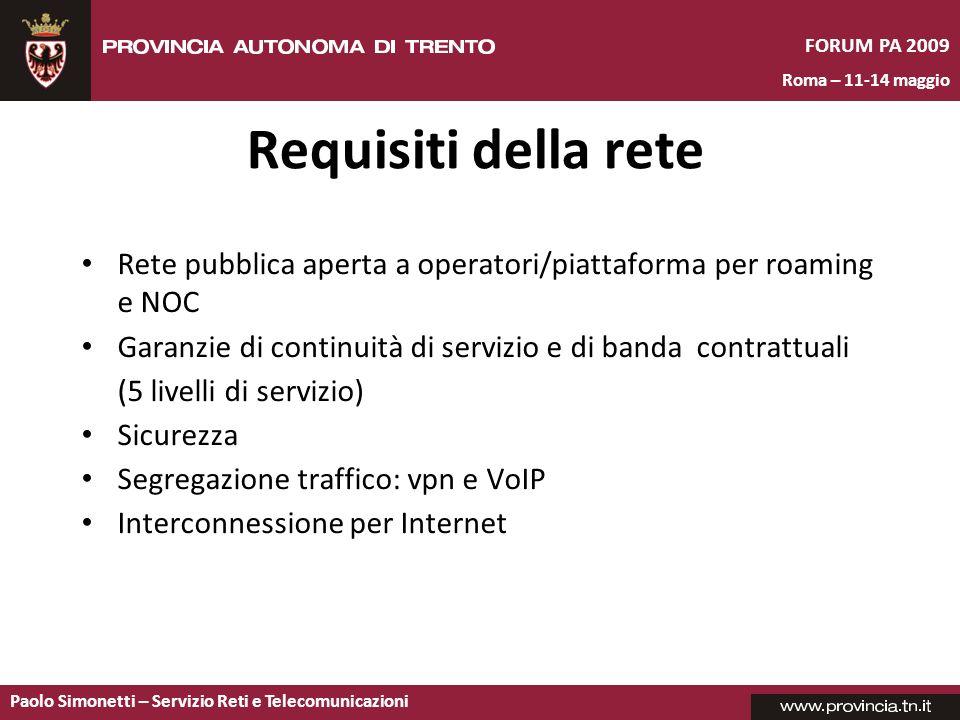 Requisiti della rete Rete pubblica aperta a operatori/piattaforma per roaming e NOC. Garanzie di continuità di servizio e di banda contrattuali.