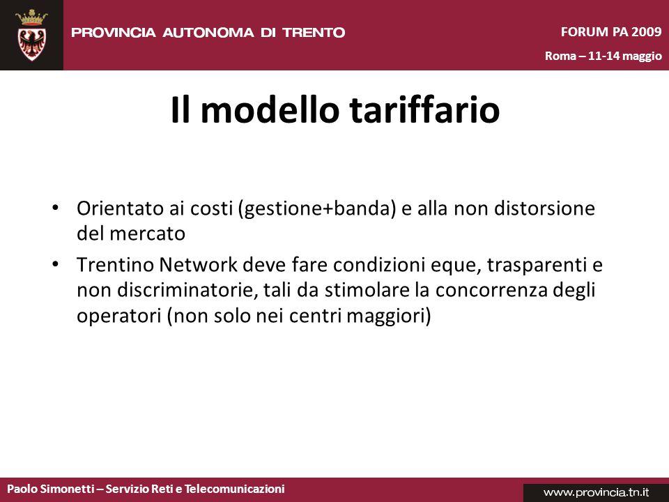 Il modello tariffario Orientato ai costi (gestione+banda) e alla non distorsione del mercato.