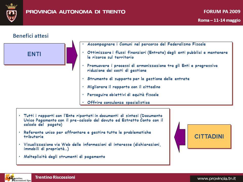 Benefici attesi ENTI CITTADINI FORUM PA 2009 Roma – 11-14 maggio