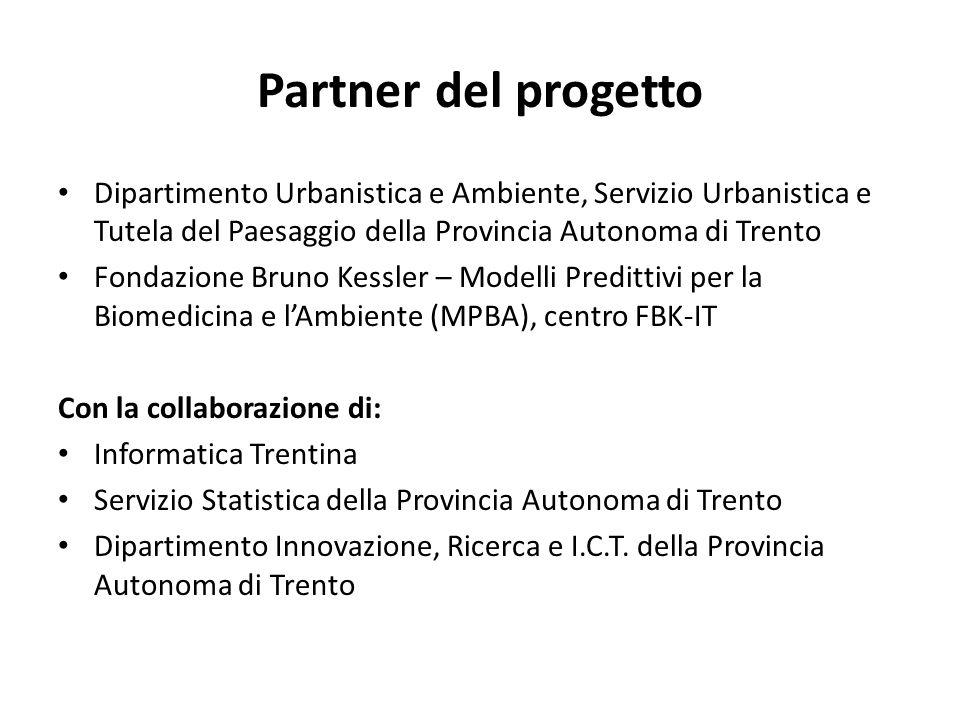 Partner del progetto Dipartimento Urbanistica e Ambiente, Servizio Urbanistica e Tutela del Paesaggio della Provincia Autonoma di Trento.