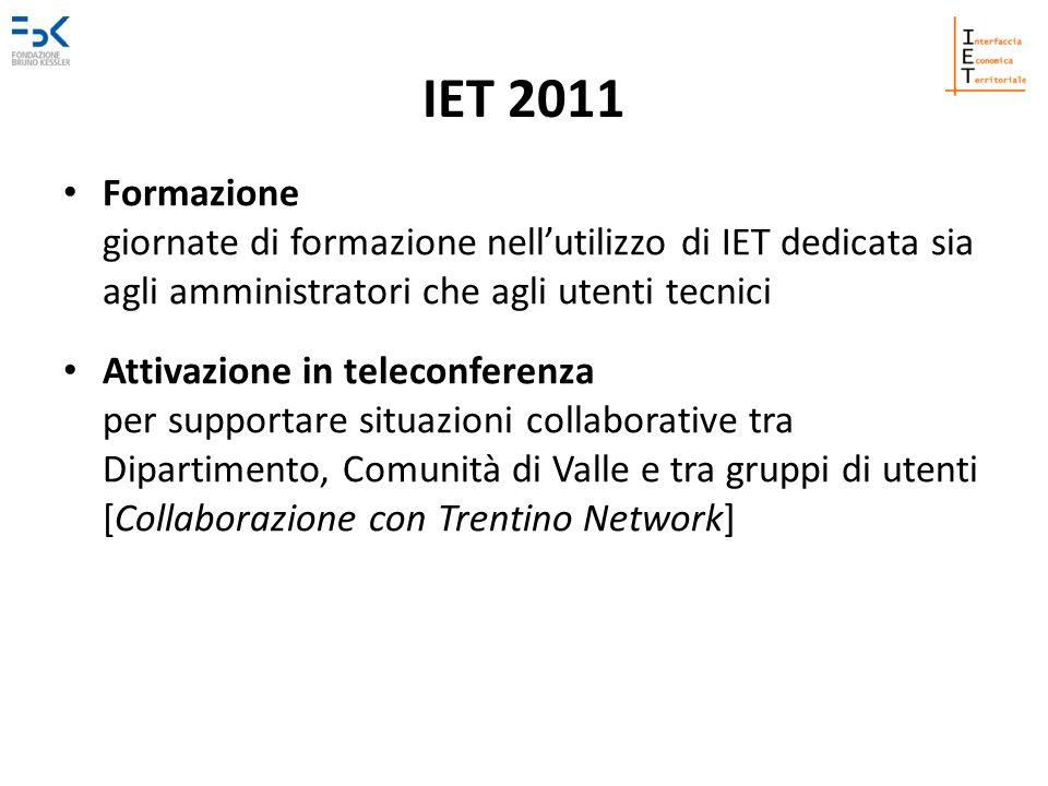 IET 2011 Formazione giornate di formazione nell'utilizzo di IET dedicata sia agli amministratori che agli utenti tecnici.