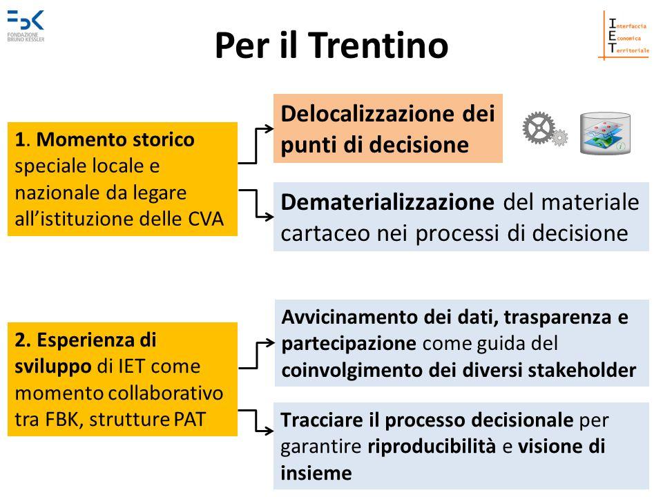 Per il Trentino Delocalizzazione dei punti di decisione