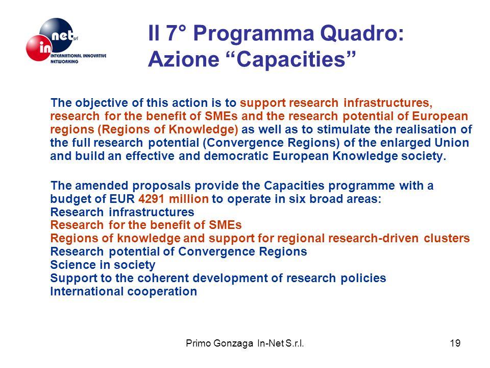 Il 7° Programma Quadro: Azione Capacities