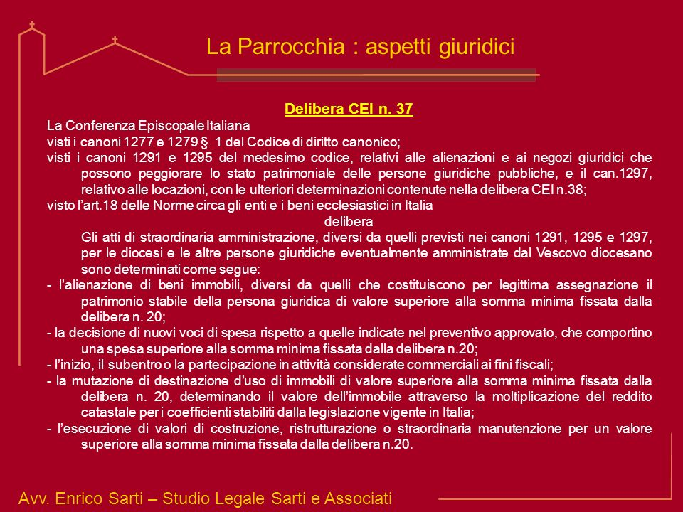 La Parrocchia : aspetti giuridici