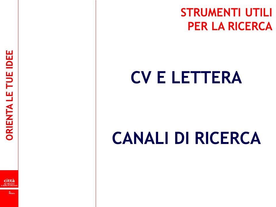 CV E LETTERA CANALI DI RICERCA