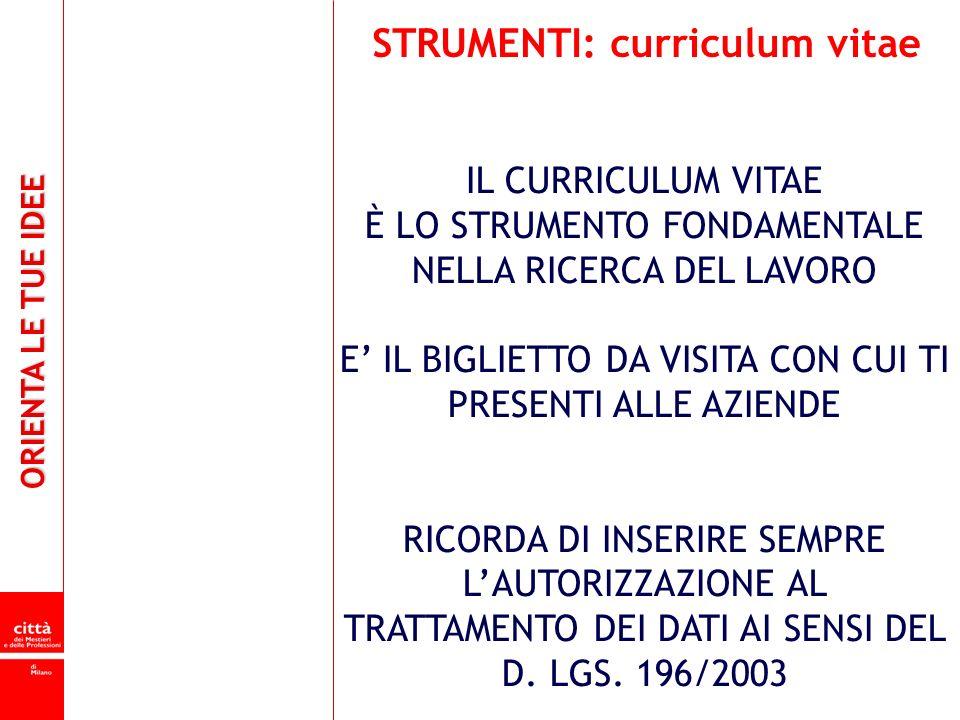 STRUMENTI: curriculum vitae