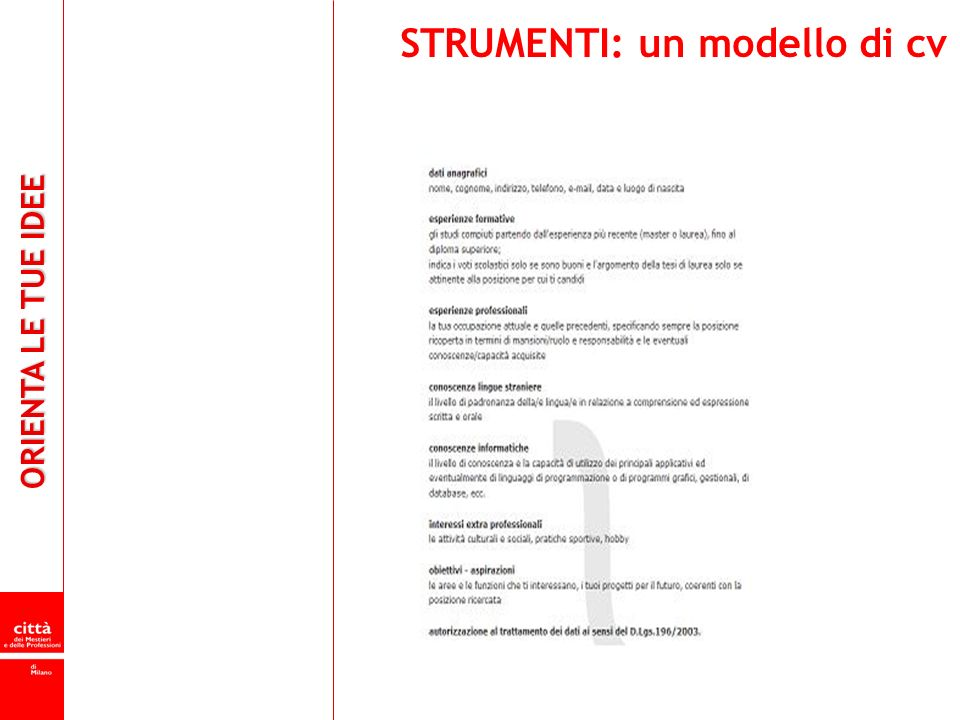 STRUMENTI: un modello di cv