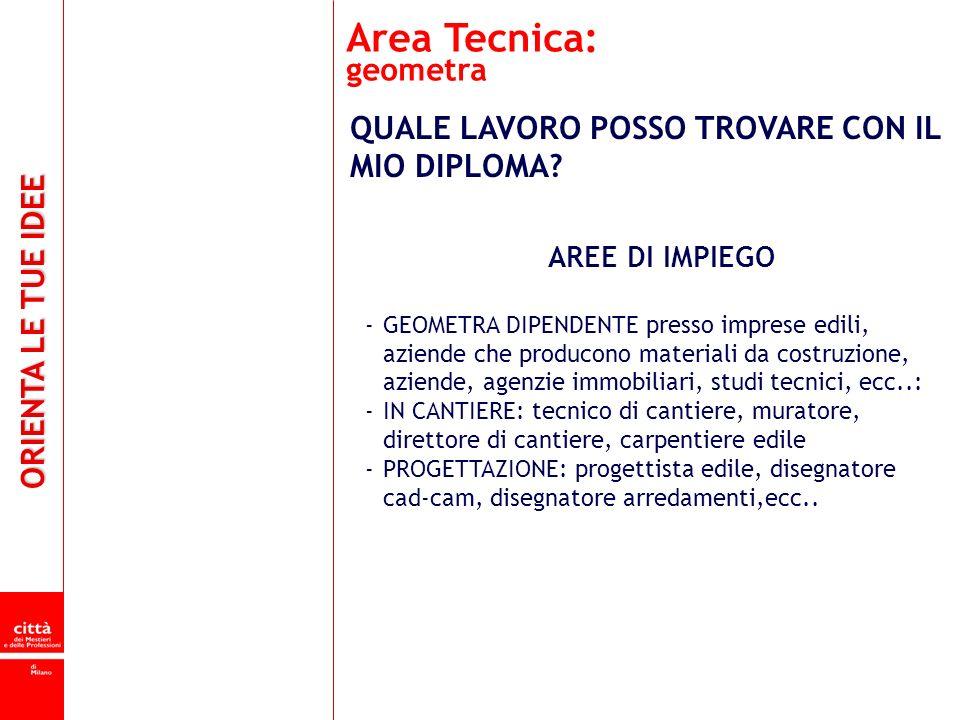 Area Tecnica: geometra QUALE LAVORO POSSO TROVARE CON IL MIO DIPLOMA