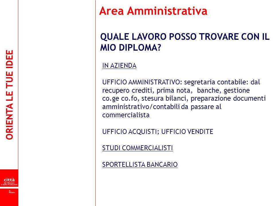 Area Amministrativa QUALE LAVORO POSSO TROVARE CON IL MIO DIPLOMA