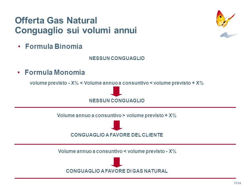 Offerta Gas Natural Conguaglio sui volumi annui