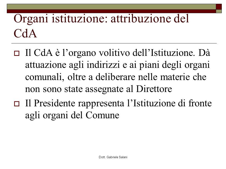 Organi istituzione: attribuzione del CdA