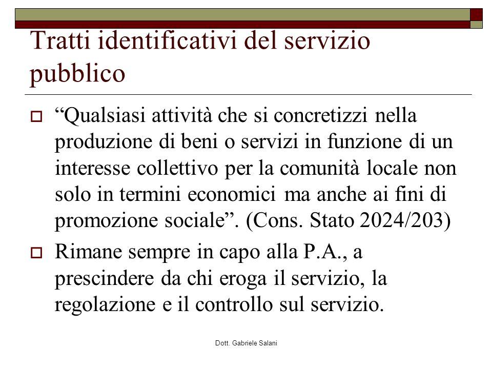Tratti identificativi del servizio pubblico