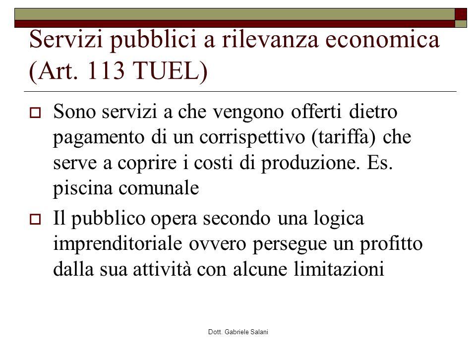 Servizi pubblici a rilevanza economica (Art. 113 TUEL)