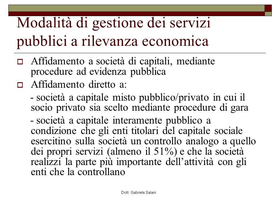 Modalità di gestione dei servizi pubblici a rilevanza economica