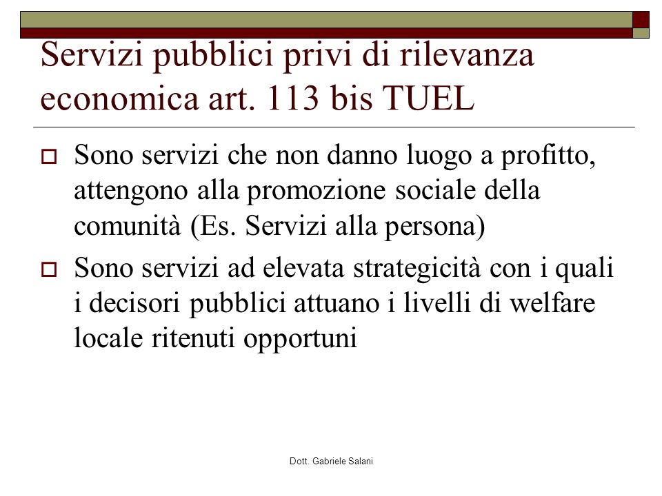 Servizi pubblici privi di rilevanza economica art. 113 bis TUEL