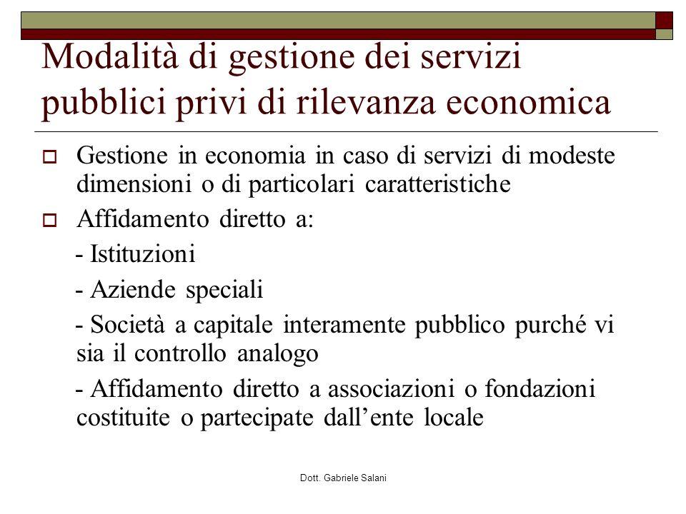 Modalità di gestione dei servizi pubblici privi di rilevanza economica