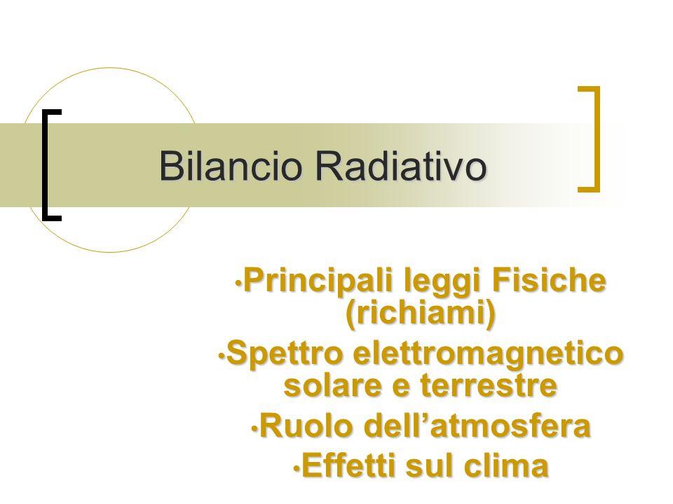 Bilancio Radiativo Principali leggi Fisiche (richiami)