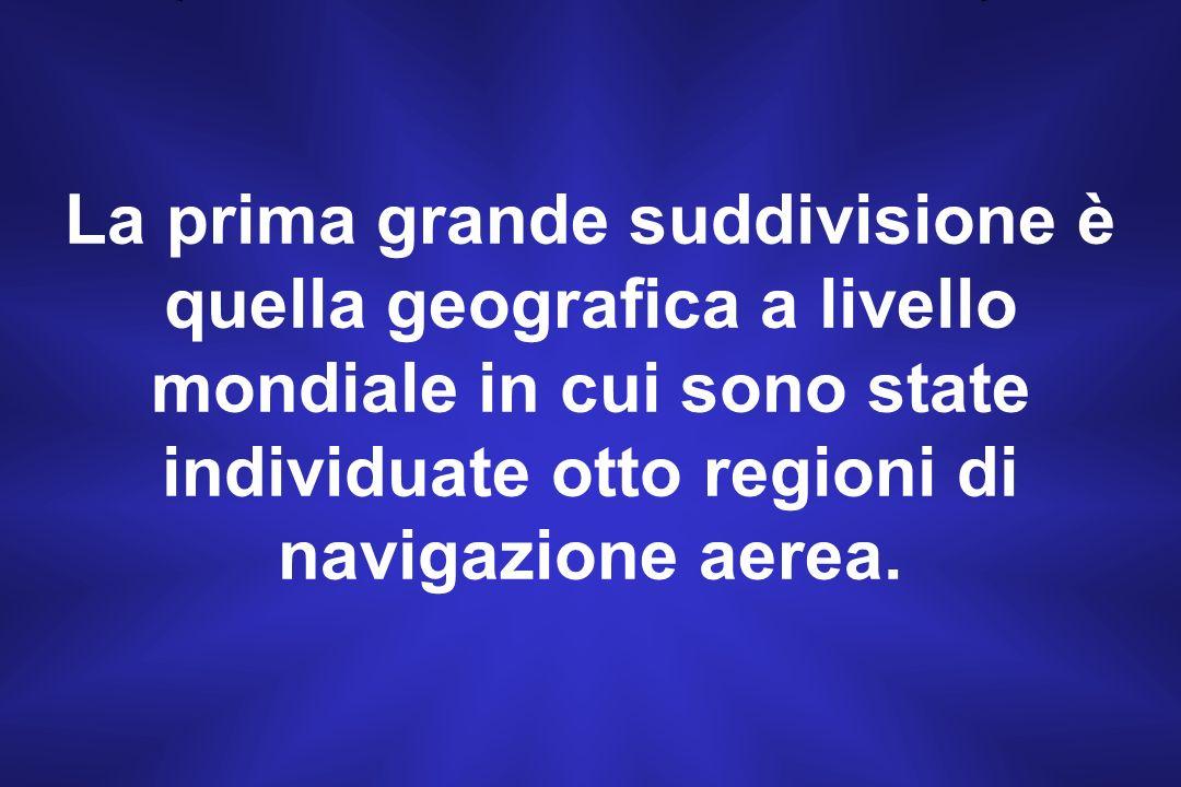 La prima grande suddivisione è quella geografica a livello mondiale in cui sono state individuate otto regioni di navigazione aerea.