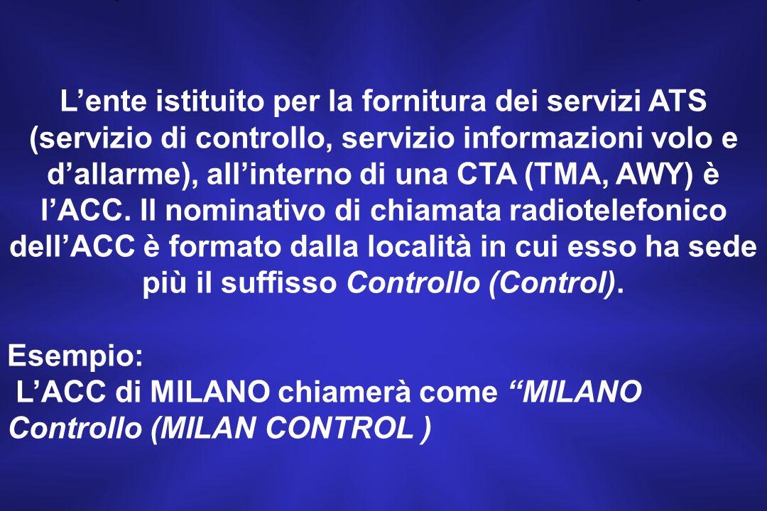 L'ACC di MILANO chiamerà come MILANO Controllo (MILAN CONTROL )